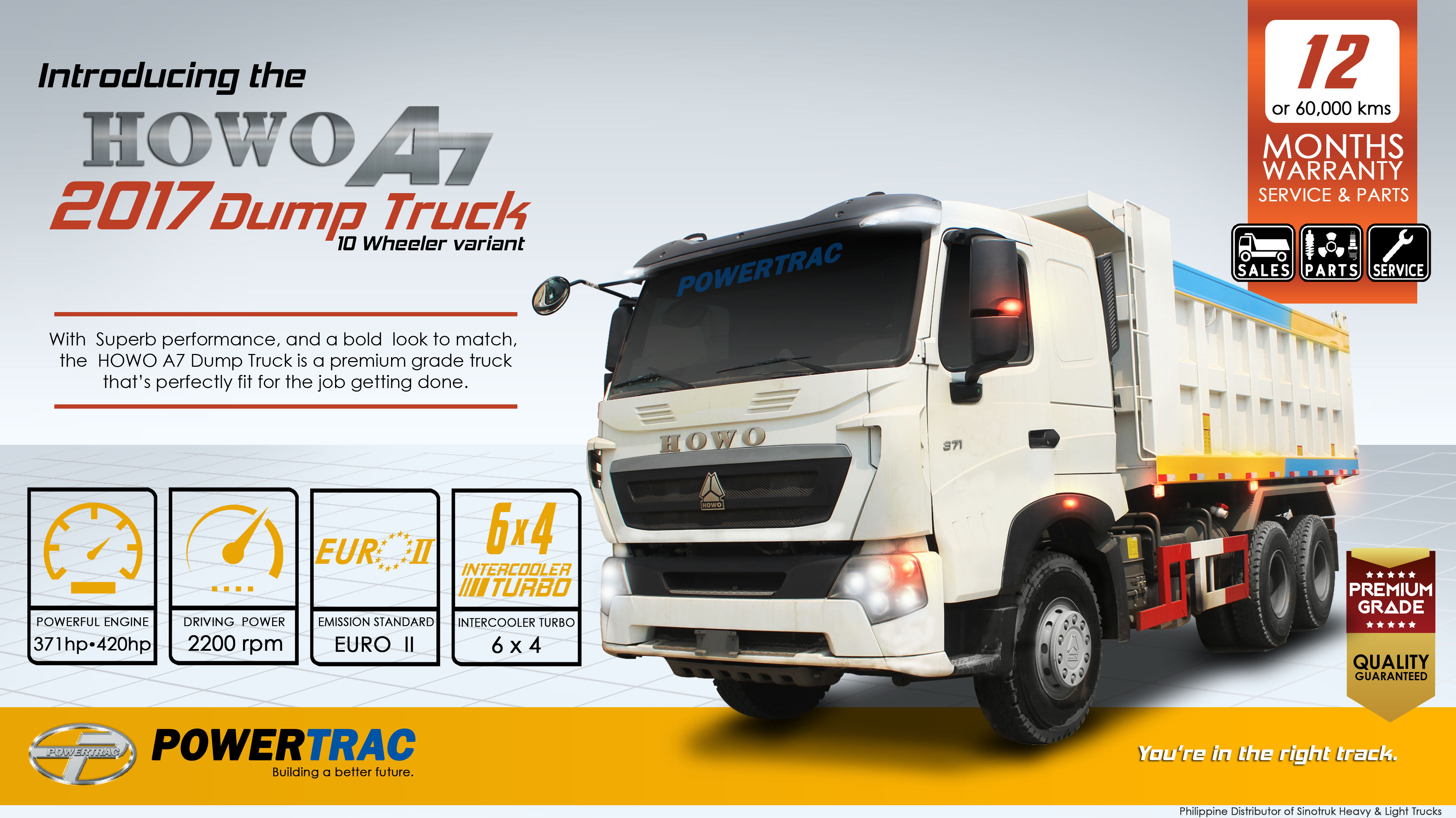 howo a7 2017 dump truck 10 wheelernew product powertrac